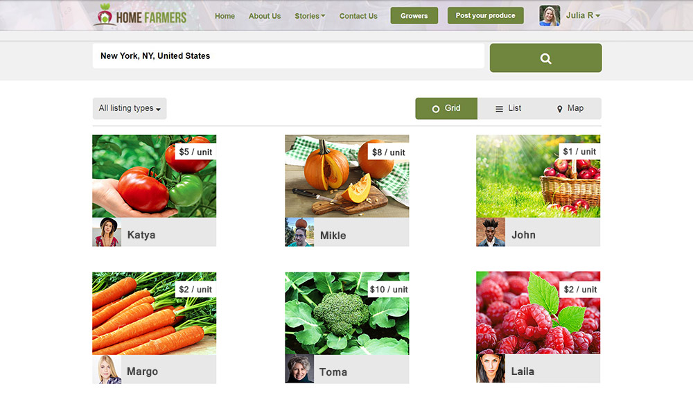 Home Farmers: find products by location